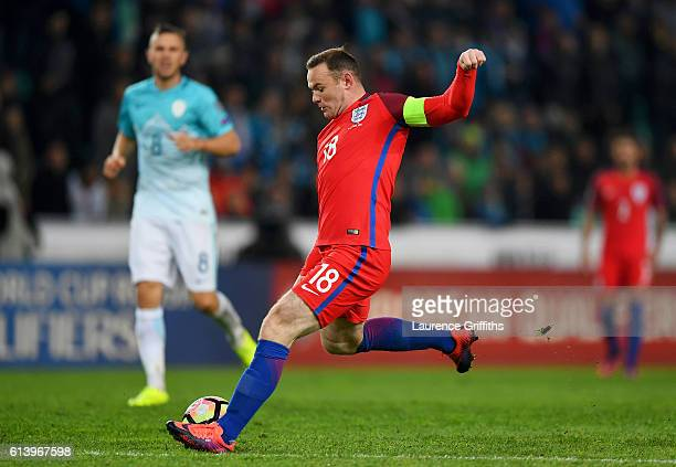Wayne Rooney of England shoots at goal during the FIFA 2018 World Cup Qualifier Group F match between Slovenia and England at Stadion Stozice on...