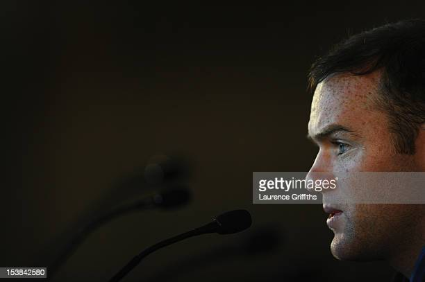 Wayne Rooney of England speaks to the media during a press conference at St Georges Park on October 9 2012 in BurtonuponTrent England