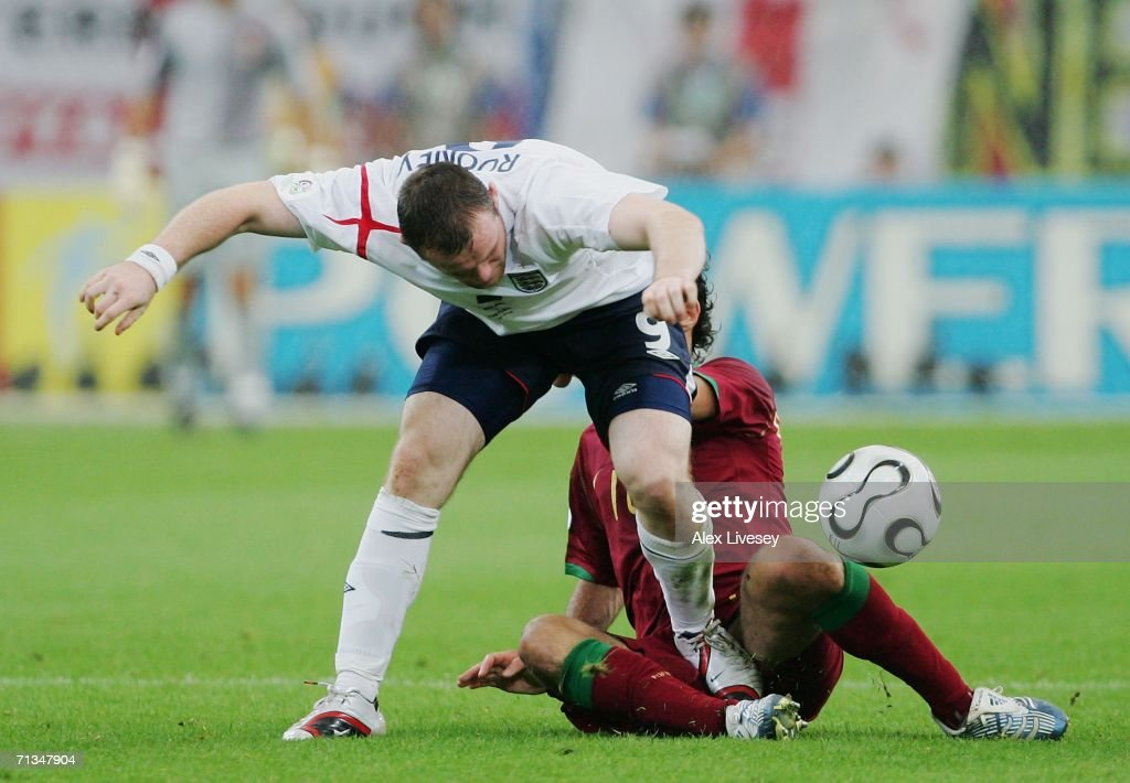 Wayne Rooney of England stamps on Ricardo Carvalho of Portugal during the FIFA World Cup Germany 2006 Quarter-final match between England and Portugal played at the Stadium Gelsenkirchen on July 1, 2006 in Gelsenkirchen, Germany.