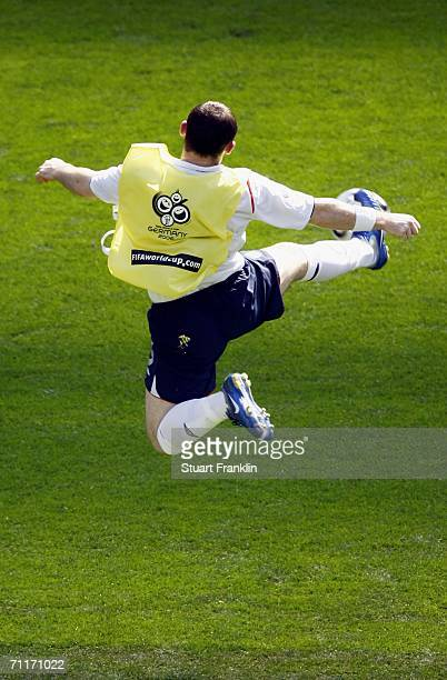 Wayne Rooney of England warms up prior to the FIFA World Cup Germany 2006 Group B match between England and Paraguay at the Stadium Frankfurt on June...