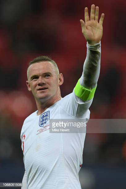 Wayne Rooney of England waves to the crowd at the end of the International Friendly match between England and United States at Wembley Stadium on...