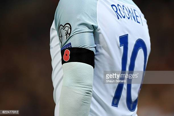 Wayne Rooney of England wears a Poppy black armband during the FIFA 2018 World Cup qualifying match between England and Scotland at Wembley Stadium...