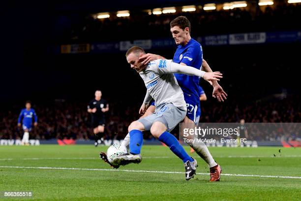 Wayne Rooney of Everton and Andreas Christensen of Chelsea challenge for the ball during the Carabao Cup Fourth Round match between Chelsea and...