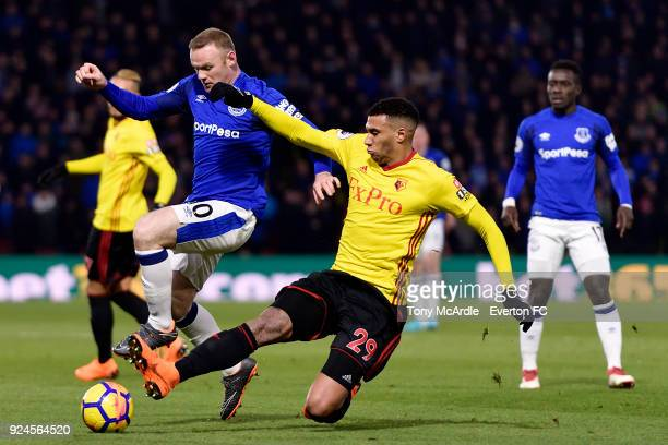 Wayne Rooney of Everton and Etienne Capoue of Watford during the Premier League match between Watford and Everton at Vicarage Road on February 24...