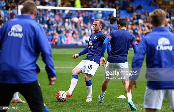 Wayne Rooney of Everton and Manchester United in action during the warm up prior to the Duncan Ferguson Testimonial match between Everton and...