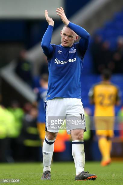 Wayne Rooney of Everton applauds fans after the Premier League match between Everton and Brighton and Hove Albion at Goodison Park on March 10 2018...