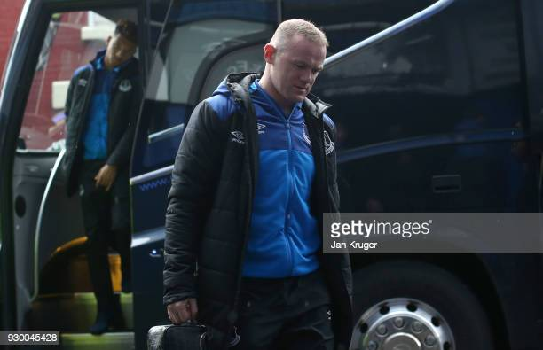 Wayne Rooney of Everton arrives at the stadium prior to the Premier League match between Everton and Brighton and Hove Albion at Goodison Park on...
