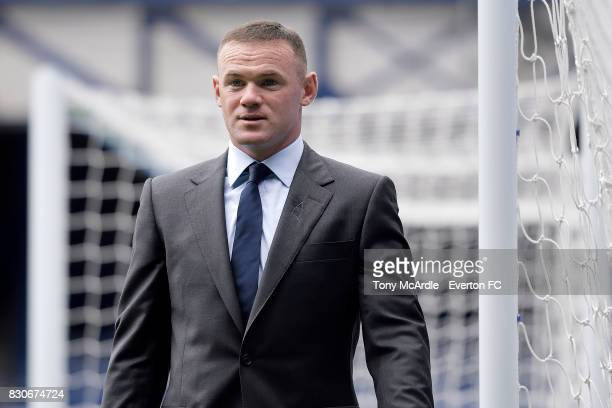 Wayne Rooney of Everton arrives before the Premier League match between Everton and Stoke City at Goodison Park on August 12, 2017 in Liverpool,...