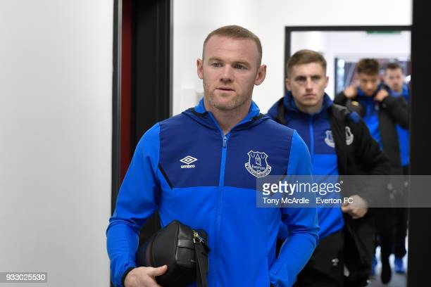 Wayne Rooney of Everton arrives before the Premier League match between Stoke City and Everton at the Bet365 Stadium on March 17 2018 in Stoke England