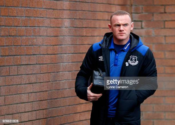 Wayne Rooney of Everton arrives prior to the Premier League match between Burnley and Everton at Turf Moor on March 3 2018 in Burnley England