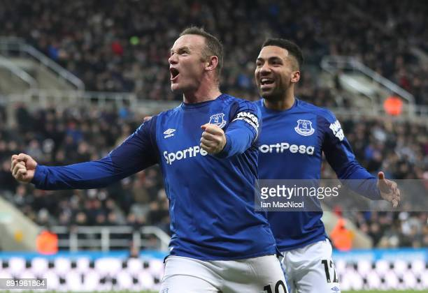 Wayne Rooney of Everton celebrates after he scores the opening goal during the Premier League match between Newcastle United and Everton at St James...