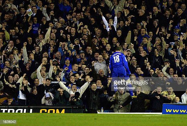 Wayne Rooney of Everton celebrates after scoring the winning goal during the FA Barclaycard Premiership match between Leeds United and Everton on...