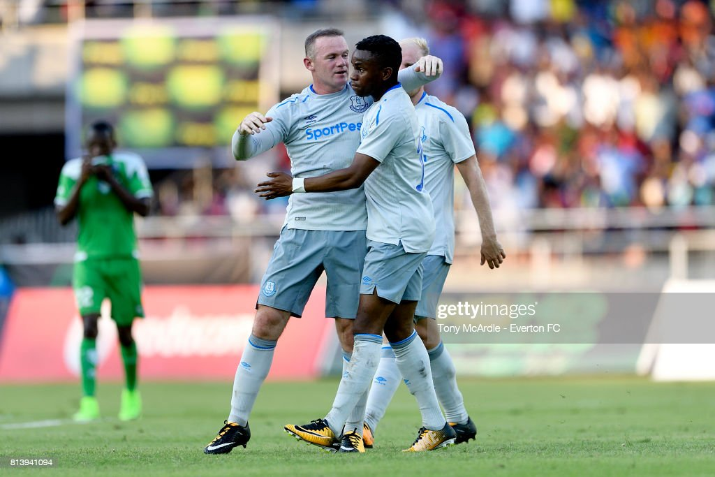 Wayne Rooney of Everton celebrates scoring against Gor Mahia during a Pre-Season Friendly on July 13, 2017 in Dar es Salaam, Tanzania.