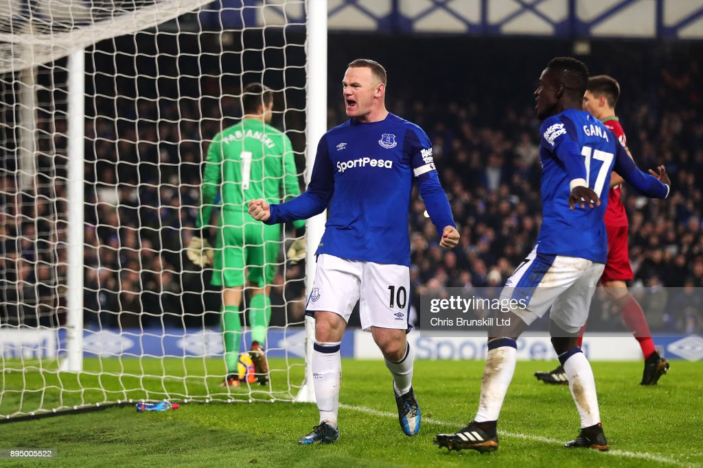 Wayne Rooney of Everton celebrates scoring his side's third goal during the Premier League match between Everton and Swansea City at Goodison Park on December 18, 2017 in Liverpool, England.