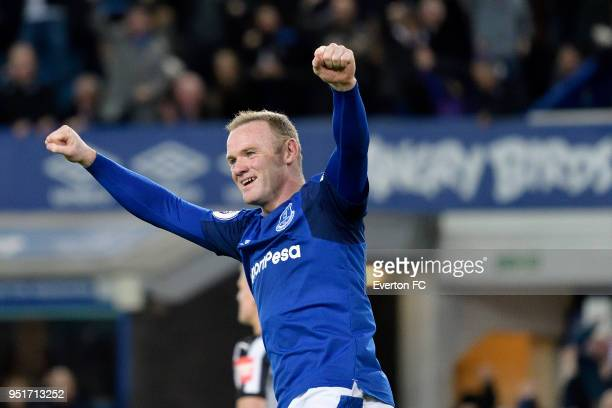 Wayne Rooney of Everton celebrates the goal of Theo Walcott during the Premier League match between Everton and Newcastle United at Goodison Park on...
