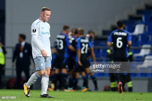 Wayne Rooney of Everton displeasure during the UEFA Europa League group E match between Atalanta and Everton FC at Stadio Citta del Tricolore on...