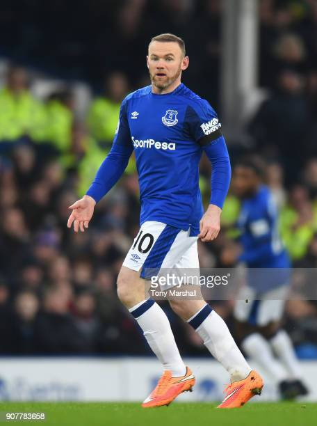 Wayne Rooney of Everton during the Premier League match between Everton and West Bromwich Albion at Goodison Park on January 20 2018 in Liverpool...