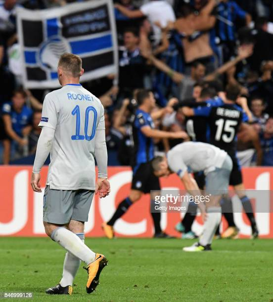 Wayne Rooney of Everton FC reacts after Atalanta score during the UEFA Europa League group E match between Atalanta and Everton FC at Stadio Citta...