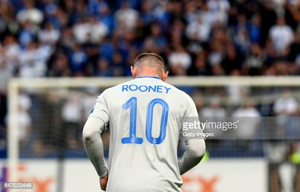 Wayne Rooney of Everton FC reacts during the UEFA Europa League group E match between Atalanta and Everton FC at Stadio Citta del Tricolore on...