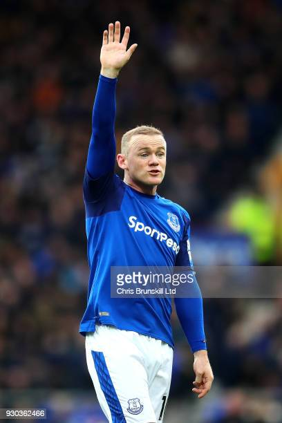 Wayne Rooney of Everton gestures during the Premier League match between Everton and Brighton and Hove Albion at Goodison Park on March 10 2018 in...