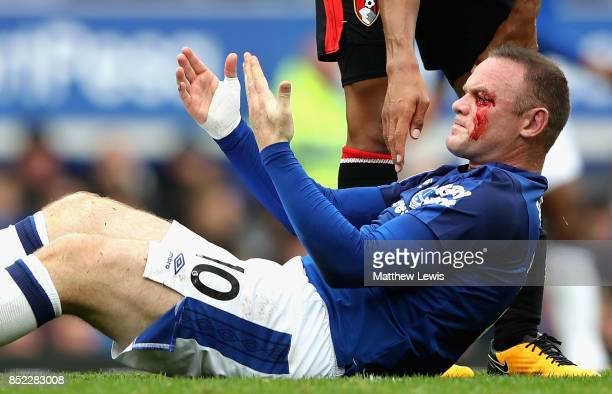 Wayne Rooney of Everton goes down injured with a face injury during the Premier League match between Everton and AFC Bournemouth at Goodison Park on...