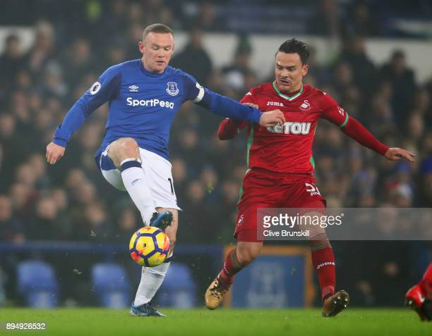 Wayne Rooney of Everton holds off Roque Mesa of Swansea City during the Premier League match between Everton and Swansea City at Goodison Park on...