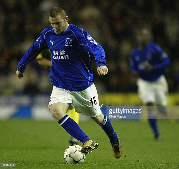 Wayne Rooney of Everton in action during the Barclaycard Premiership match between Everton and West Bromwich Albion at Goodison Park Liverpool on...