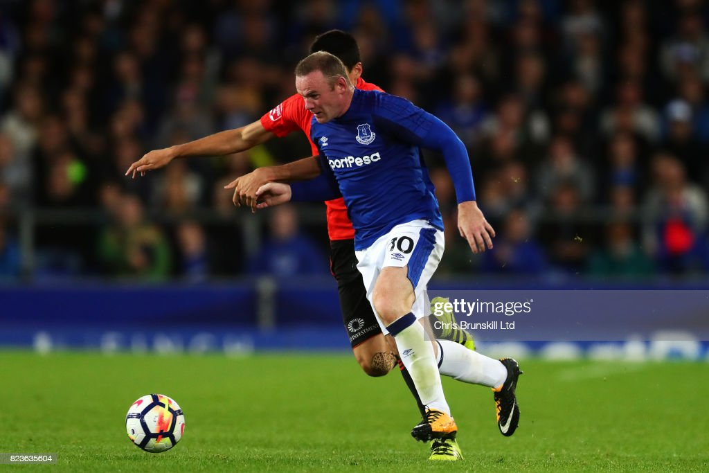 Wayne Rooney of Everton in action during the UEFA Europa League Third Qualifying Round First Leg match between Everton and MFK Ruzomberok at Goodison Park on July 27, 2017 in Liverpool, England.