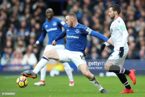 Wayne Rooney of Everton is challenged by Yohan Cabaye of Crystal Palace during the Premier League match between Everton and Crystal Palace at...