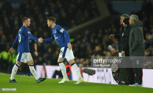 Wayne Rooney of Everton is replaced by James McCarthy of Everton during the Premier League match between Everton and Manchester United at Goodison...