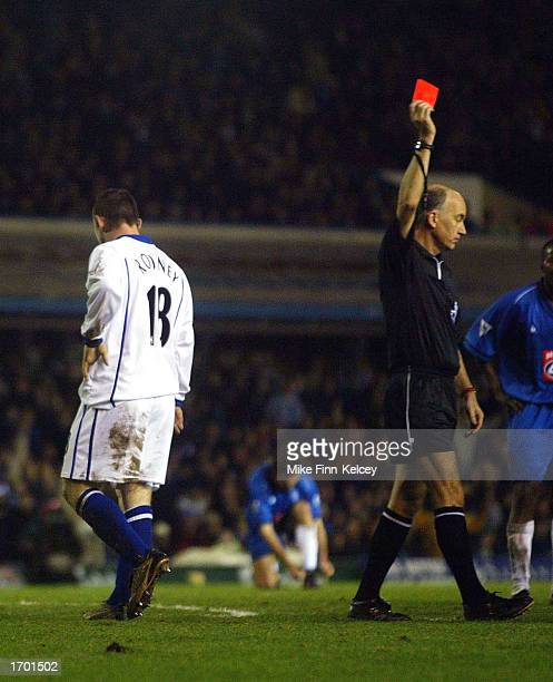 Wayne Rooney of Everton is shown the red card after a foul on Steve Vickers during the Birmingham City v Everton FA Barclaycard Premiership match...