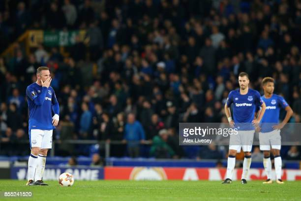 Wayne Rooney of Everton looks dejected after Apollon Limassol score their second goal during the UEFA Europa League group E match between Everton FC...
