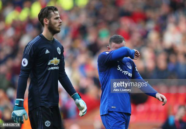Wayne Rooney of Everton looks dejected as he walks off at half time during the Premier League match between Manchester United and Everton at Old...