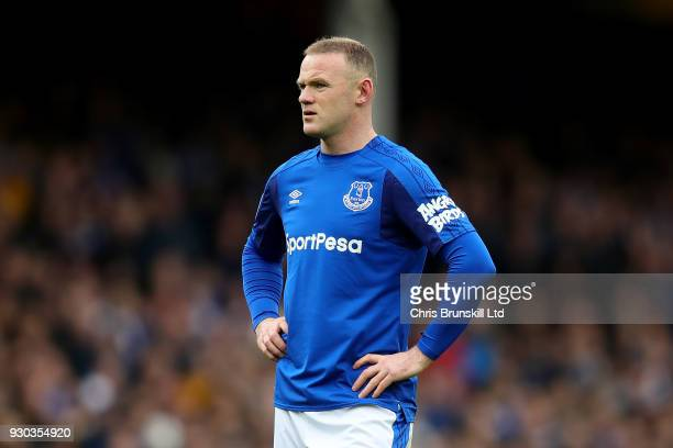 Wayne Rooney of Everton looks on during the Premier League match between Everton and Brighton and Hove Albion at Goodison Park on March 10 2018 in...