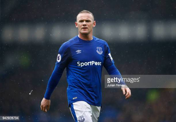 Wayne Rooney of Everton looks on during the Premier League match between Everton and Liverpool at Goodison Park on April 7 2018 in Liverpool England