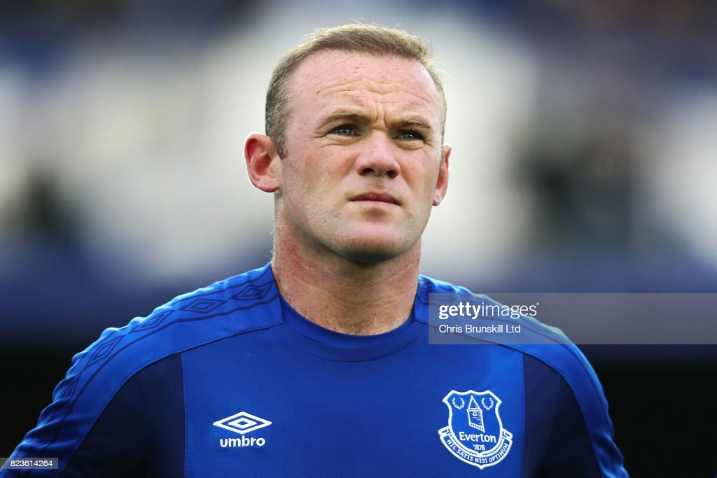 Wayne Rooney of Everton looks on during the UEFA Europa League Third Qualifying Round First Leg match between Everton and MFK Ruzomberok at Goodison Park on July 27, 2017 in Liverpool, England.