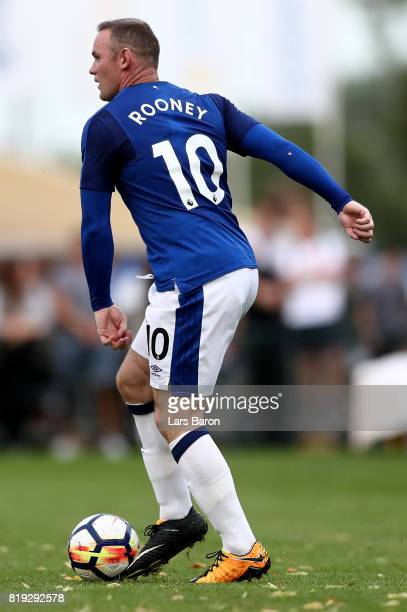 Wayne Rooney of Everton runs with the ball during a preseason friendly match between FC Twente and Everton FC at Sportpark de Stockakker on July 19...