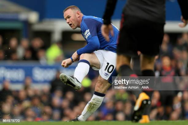 Wayne Rooney of Everton scores a goal to make it 10 during the Premier League match between Everton and Arsenal at Goodison Park on October 22 2017...