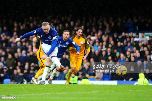Wayne Rooney of Everton sees his penalty saved during the Premier League match between Everton and Brighton and Hove Albion at Goodison Park on March...