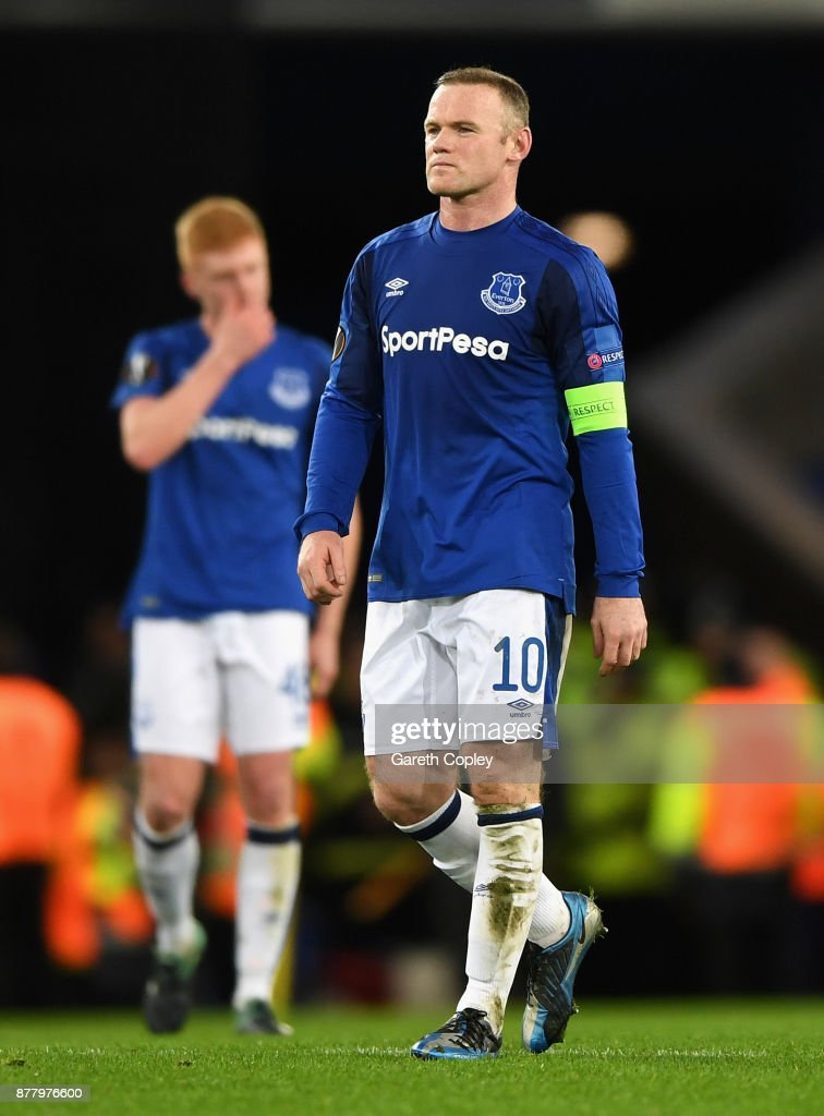Wayne Rooney of Everton shows dissapointment at the final whistle during the UEFA Europa League group E match between Everton FC and Atalanta at Goodison Park on November 23, 2017 in Liverpool, United Kingdom.