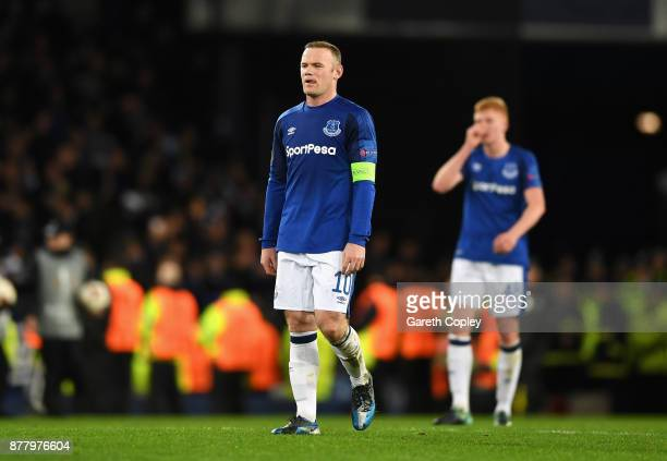 Wayne Rooney of Everton shows dissapointment at the final whistle during the UEFA Europa League group E match between Everton FC and Atalanta at...