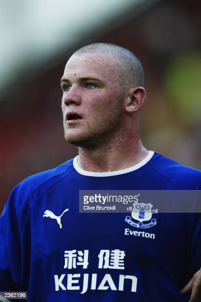Wayne Rooney of Everton sports his new haircut during the PreSeason Friendly match between Crewe Alexandra and Everton held on July 22 2003 at Gresty...