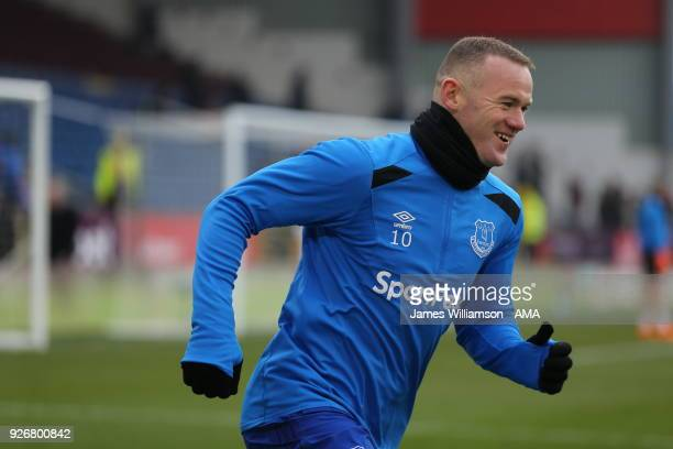 Wayne Rooney of Everton warms up prior to the Premier League match between Burnley and Everton at Turf Moor on March 3 2018 in Burnley England