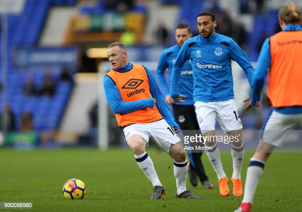 Wayne Rooney of Everton warms up prior to the Premier League match between Everton and Brighton and Hove Albion at Goodison Park on March 10 2018 in...