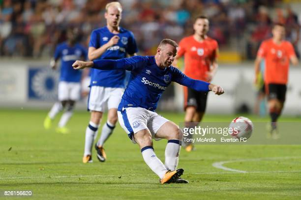 Wayne Rooney of Everton with a chance on goal during UEFA Europa League Qualifier match between MFK Ruzomberok and Everton on August 3 2017 in...