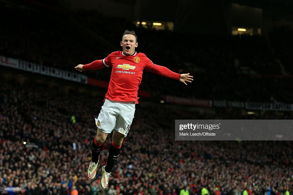 Wayne Rooney of Man Utd celebrates after scoring their 2nd goal during the Barclays Premier League match between Manchester United and Sunderland at Old Trafford on February 28, 2015 in Manchester, England.