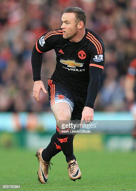 Wayne Rooney of Man Utd in action during the Barclays Premier League match between Stoke City and Manchester United at the Britannia Stadium on...