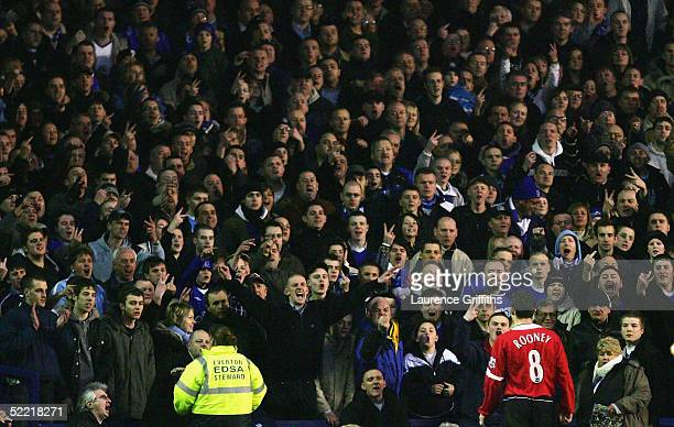Wayne Rooney of Man Utd recieves abuse from the home supporters during the FA Cup Fifth Round match between Everton and Manchester United at Goodison...
