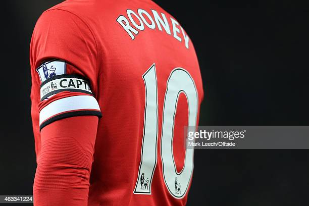 Wayne Rooney of Man Utd wears the captain's armband during the Barclays Premier League match between Manchester United and Burnley at Old Trafford on...