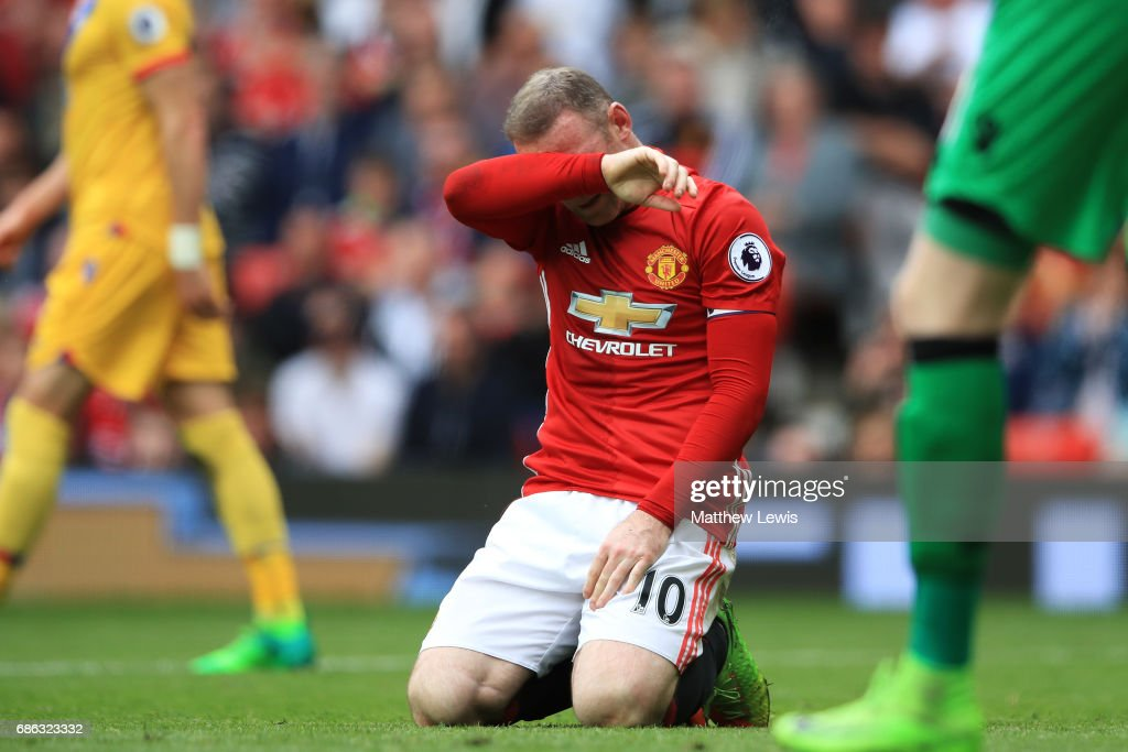 Wayne Rooney of Mancheser United reacts during the Premier League match between Manchester United and Crystal Palace at Old Trafford on May 21, 2017 in Manchester, England.